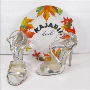 JUMMY CHOO Lang Silver High-Heel Sandals 35